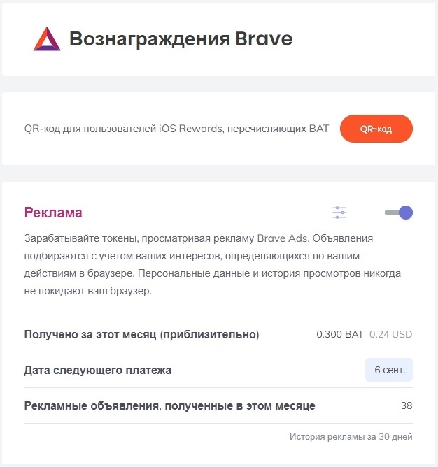 Сумма заработанных BAT на рекламе Rewards