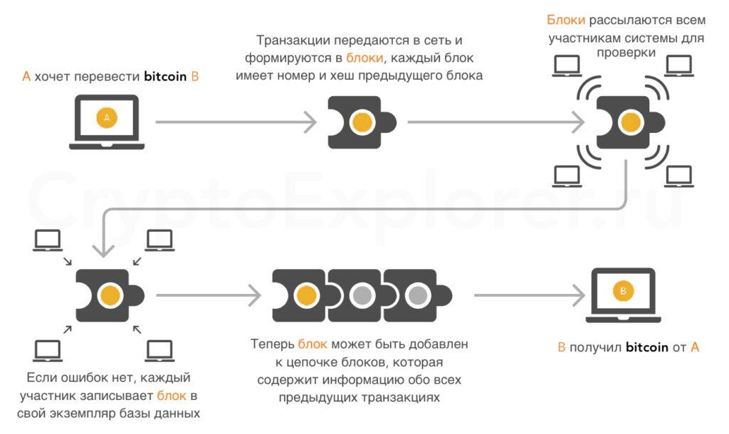 Схема блоков блокчейна