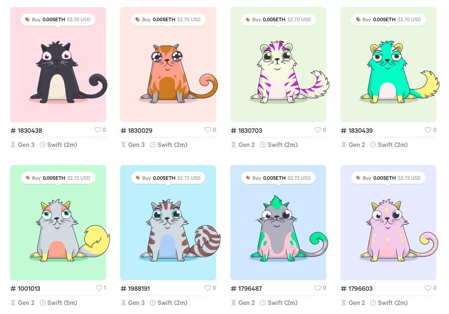 NFT крипто котята